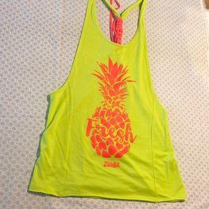 Zumba pineapple print tanktop M pretty